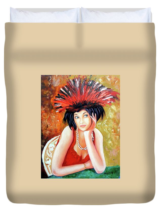 Women Duvet Cover featuring the painting Red Hat by Jose Manuel Abraham