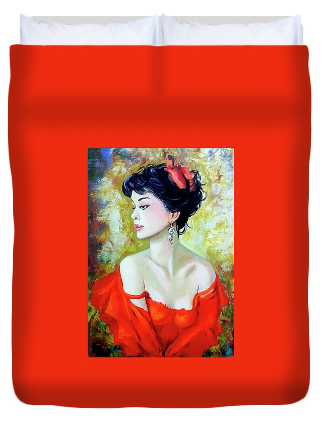 Lady Duvet Cover featuring the painting Red Lady by Jose Manuel Abraham