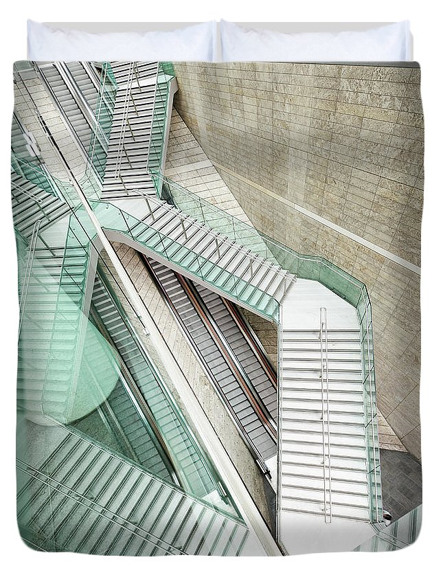 Long Duvet Cover featuring the photograph Reflected Modern Architecture - Winding by Georgeclerk