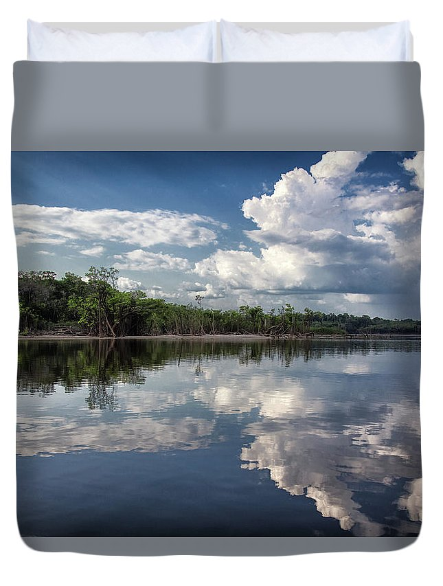 Scenics Duvet Cover featuring the photograph Reflections In Amazon River by By Kim Schandorff