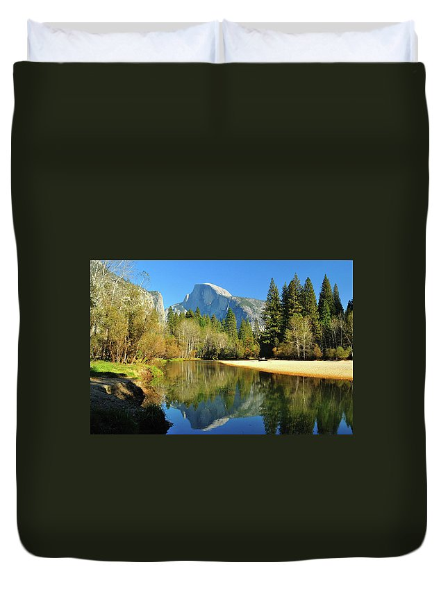 Scenics Duvet Cover featuring the photograph Reflections Of Half Dome by Sandy L. Kirkner