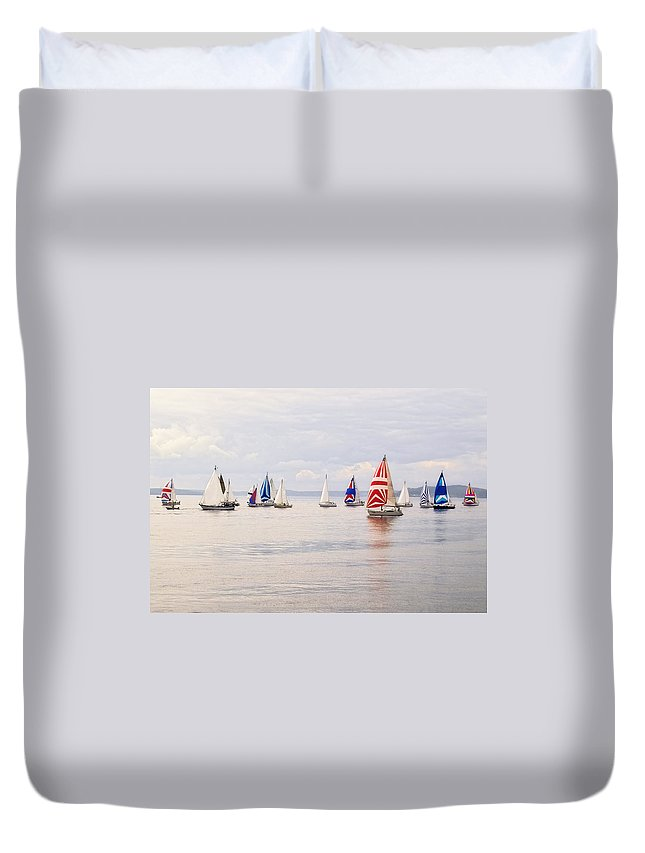Curve Duvet Cover featuring the photograph Regatta by Jhorrocks