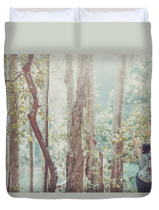 Three Quarter Length Duvet Cover featuring the photograph Relaxing In Nature By Stretching And by D3sign
