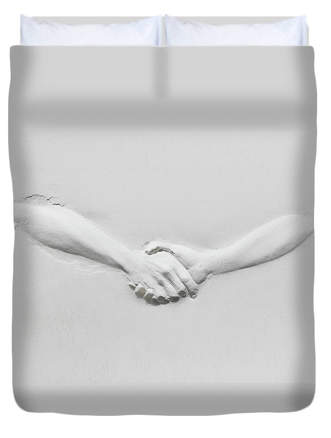 Human Arm Duvet Cover featuring the photograph Relief Of Handshake by Henrik Sorensen