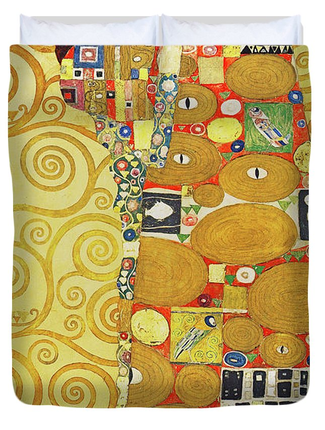 Wingsdomain Duvet Cover featuring the photograph Remastered Art Preparatory Design Stoclet Palace Frieze By Gustav Klimt 20190215 by Wingsdomain Art and Photography
