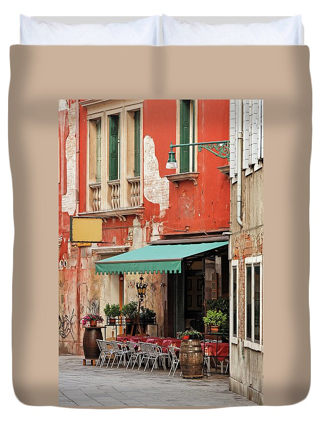 Empty Duvet Cover featuring the photograph Restaurant In Venice by Mammuth