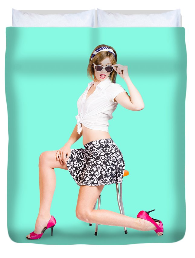 Retro Duvet Cover featuring the photograph Retro Brunette Pin Up Girl In Sixties Fashion by Jorgo Photography - Wall Art Gallery