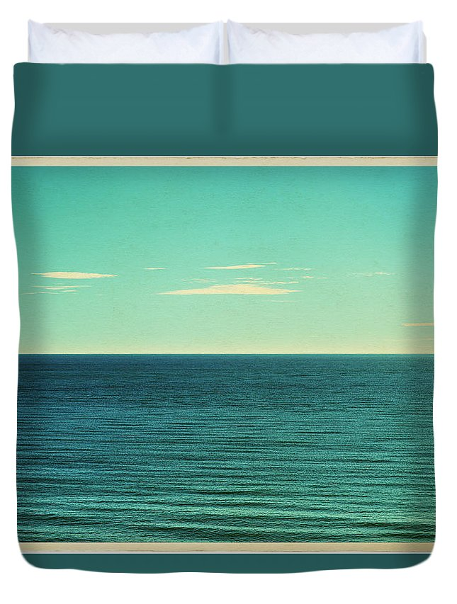 Scenics Duvet Cover featuring the photograph Retro Seascape Postcard by Farukulay