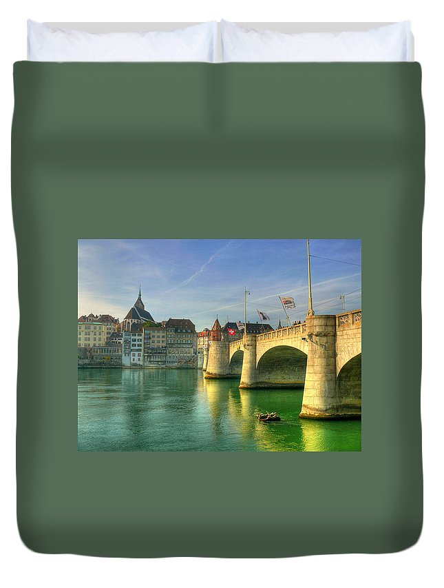 Outdoors Duvet Cover featuring the photograph Rhine Bridge In Basel by Richard Fairless