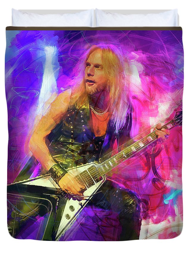 Richie Faulkner Duvet Cover featuring the mixed media Richie Faulkner Judas Priest by Mal Bray