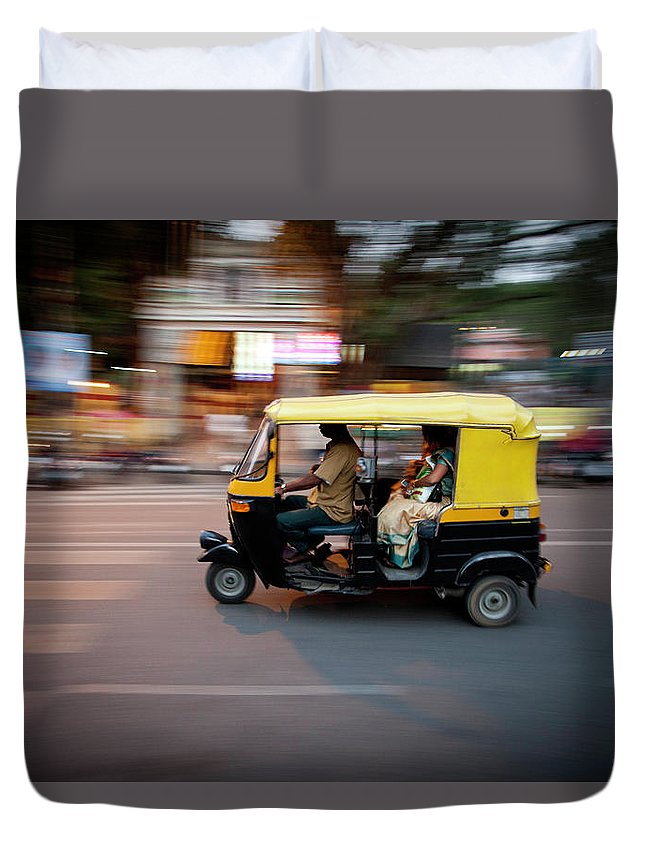 People Duvet Cover featuring the photograph Rickshaw by Javi Julio Photography