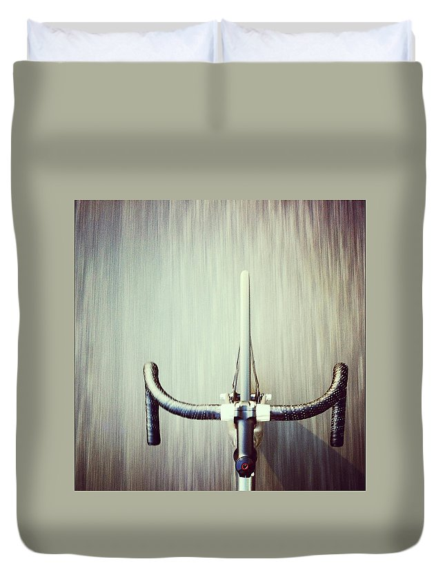 San Francisco Duvet Cover featuring the photograph Riding Bicycle by Joey Celis