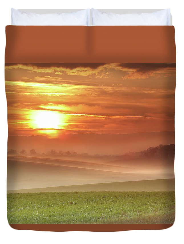 Tranquility Duvet Cover featuring the photograph Ripples In Mist by Andy Freer