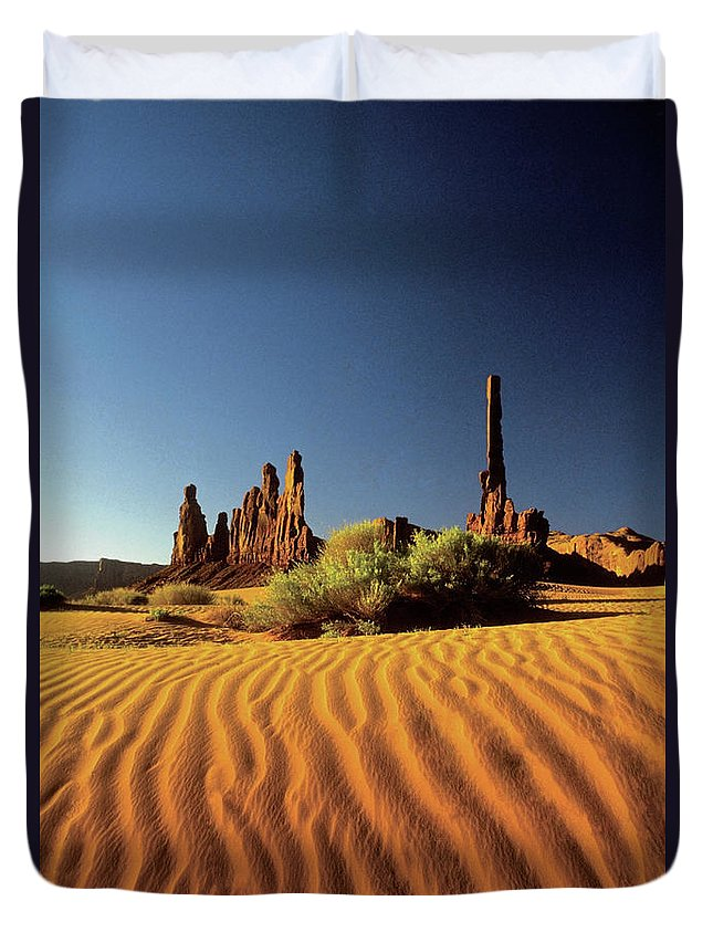 Sand Dune Duvet Cover featuring the photograph Ripples In The Sand, Monument Valley by Medioimages/photodisc