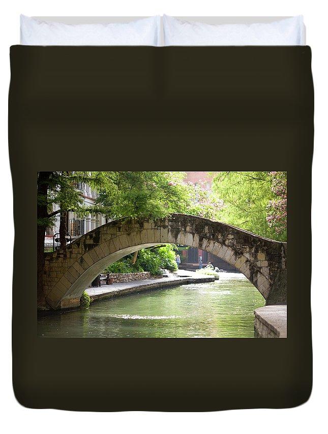 Water's Edge Duvet Cover featuring the photograph Riverwalk Stone Arch Bridge by Samdiesel