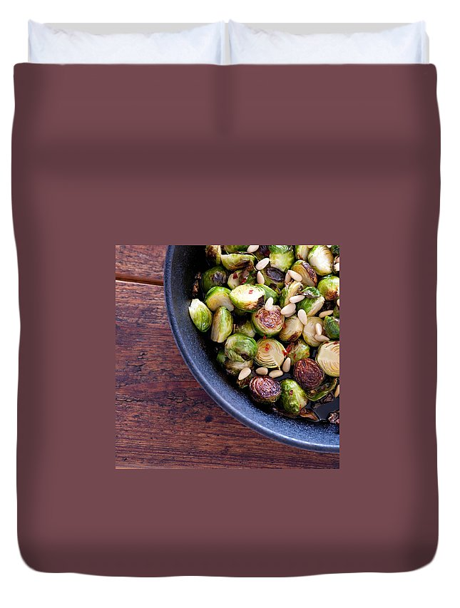 Wood Duvet Cover featuring the photograph Roast Brussels Sprouts by Julie Clancy