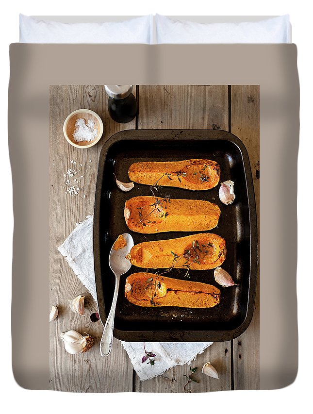 Spoon Duvet Cover featuring the photograph Roasted Butternut Squash by Sarka Babicka