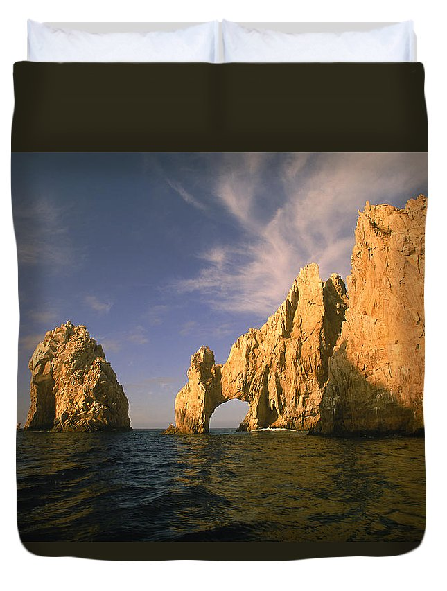 Scenics Duvet Cover featuring the photograph Rock Formations, Cabo San Lucas, Mexico by Walter Bibikow