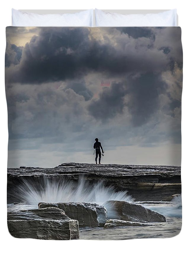 Australia Duvet Cover featuring the photograph Rock Ledge, Spear Fishermen And Cloudy Seascape by Merrillie Redden