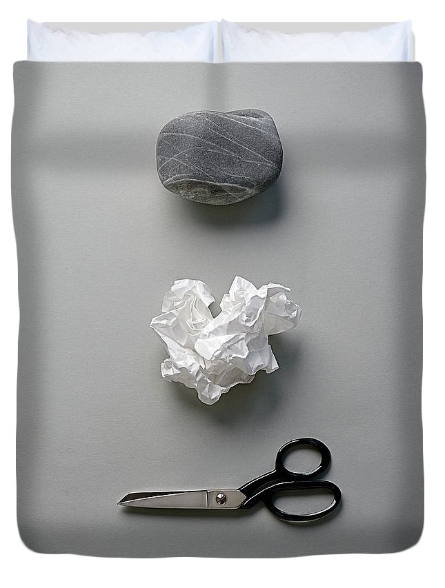 In A Row Duvet Cover featuring the photograph Rock, Paper & Scissors by David Malan