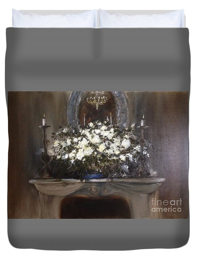 Romantic Duvet Cover featuring the painting Romantic Mantlepeace by Lizzy Forrester