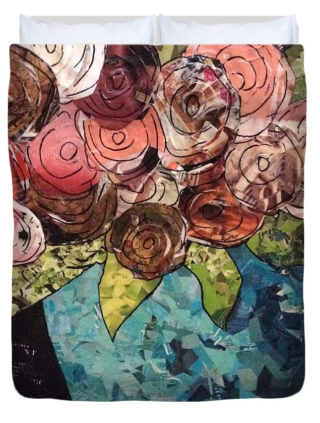 Roses Duvet Cover featuring the mixed media Roses For Nancy by Karla Clark