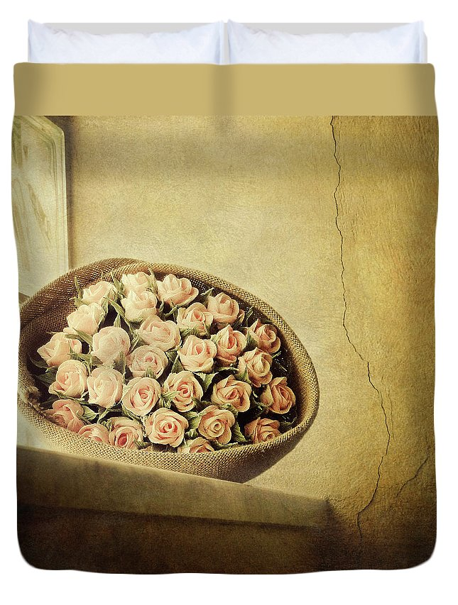 Fragility Duvet Cover featuring the photograph Roses On Window by Marco Misuri