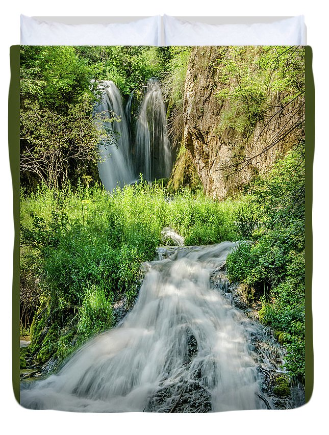 Tranquility Duvet Cover featuring the photograph Roughlock Waterfalls In Lead, South by Carl M Christensen