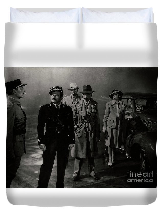 Humphrey Bogart Duvet Cover featuring the photograph Round Up The Usual Suspects - Casablanca by Doc Braham