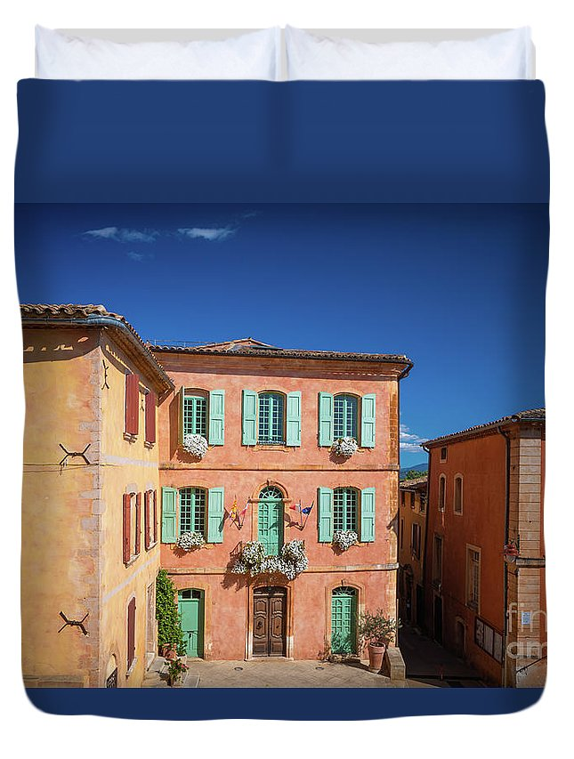 Europa Duvet Cover featuring the photograph Roussilon Town Square by Inge Johnsson