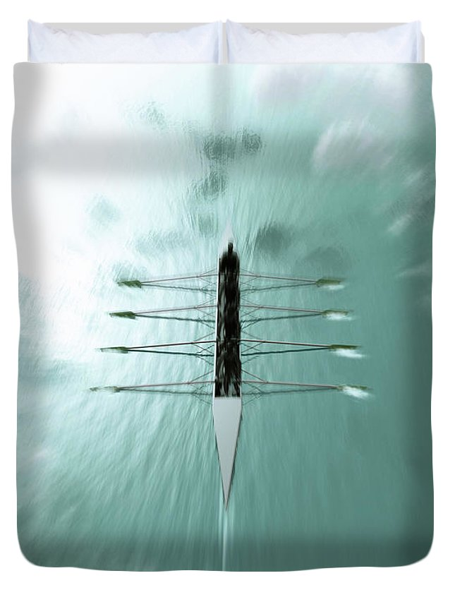 People Duvet Cover featuring the photograph Rowing Boat With A Four Person Rowing by Artpartner-images