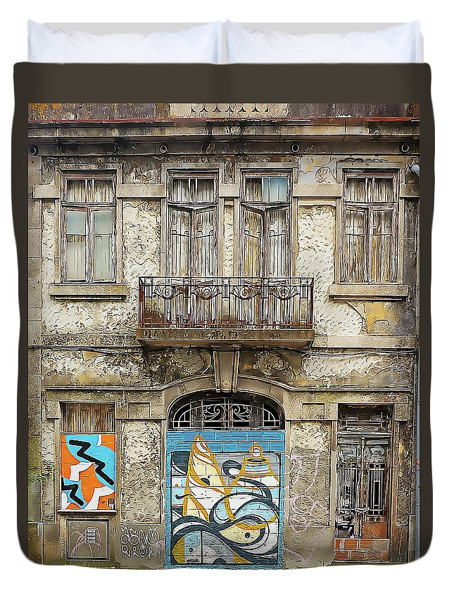 Porto. Portugal Duvet Cover featuring the mixed media Rundown Doors And Windows With Graffiti by Douglas J Fisher