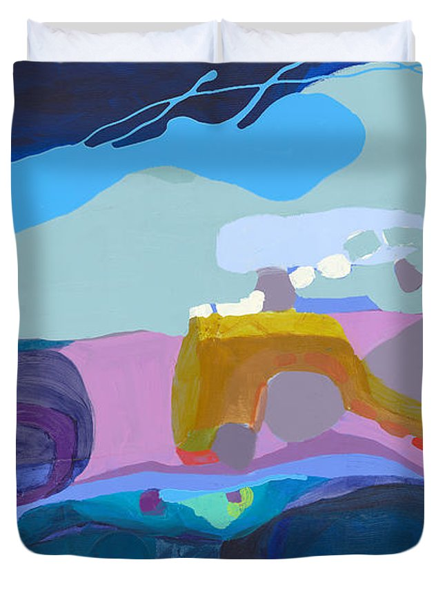 Abstract Duvet Cover featuring the painting Rush Hour by Claire Desjardins
