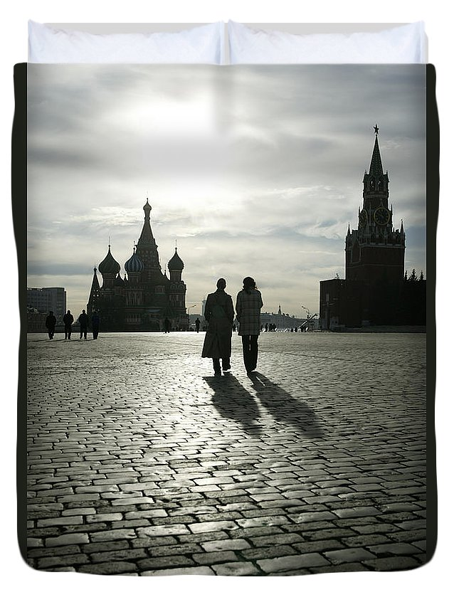 Shadow Duvet Cover featuring the photograph Russia, Moscow, Red Square, Silhouette by Will & Deni Mcintyre