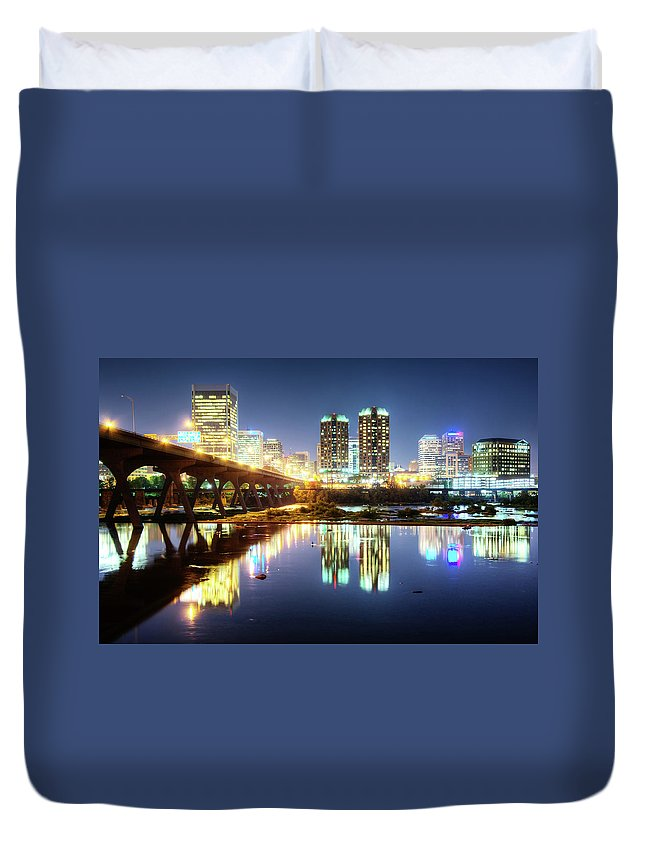 Tranquility Duvet Cover featuring the photograph Rva Summer Night - Richmond Va On The by Sky Noir Photography By Bill Dickinson