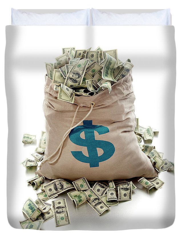 White Background Duvet Cover featuring the photograph Sack Of Cash by John Kuczala