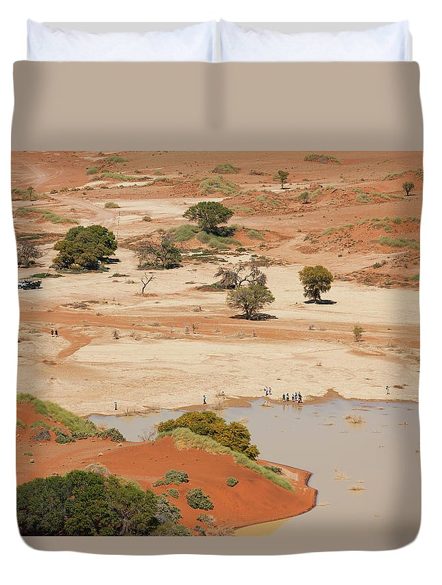 Namibia Duvet Cover featuring the photograph Safari Tourists By Sossusvlei Pan by Bjarte Rettedal