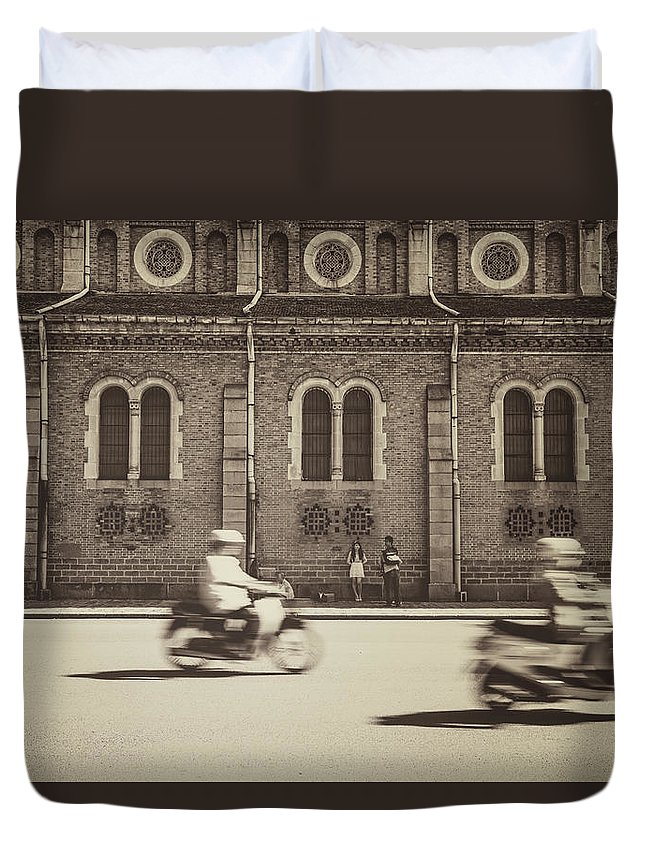 Ho Chi Minh City Duvet Cover featuring the photograph Saigon Old Corner by Jethuynh
