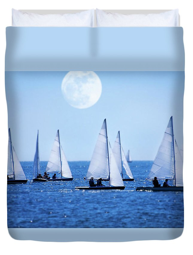 Scenics Duvet Cover featuring the photograph Sailboat Race With Moonrise, Cape Cod by Grant Faint