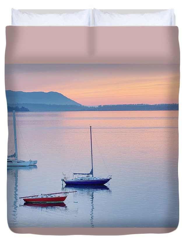 Scenics Duvet Cover featuring the photograph Sailboats In Bellingham Bay Washington by Alan Majchrowicz