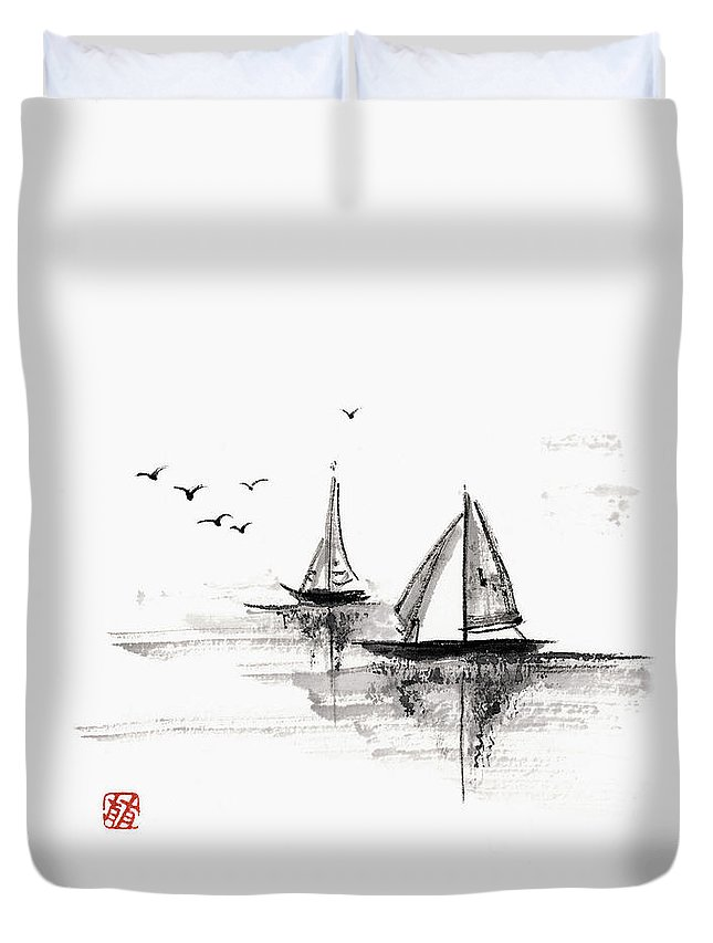 Ink And Brush Duvet Cover featuring the digital art Sailboats On The Water by Daj