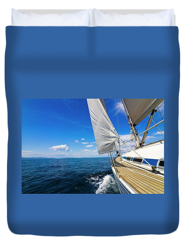Scenics Duvet Cover featuring the photograph Sailing by Gaspr13