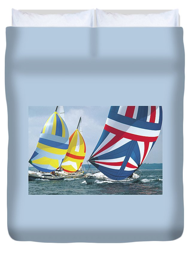 Wind Duvet Cover featuring the photograph Sailing Race by John Foxx