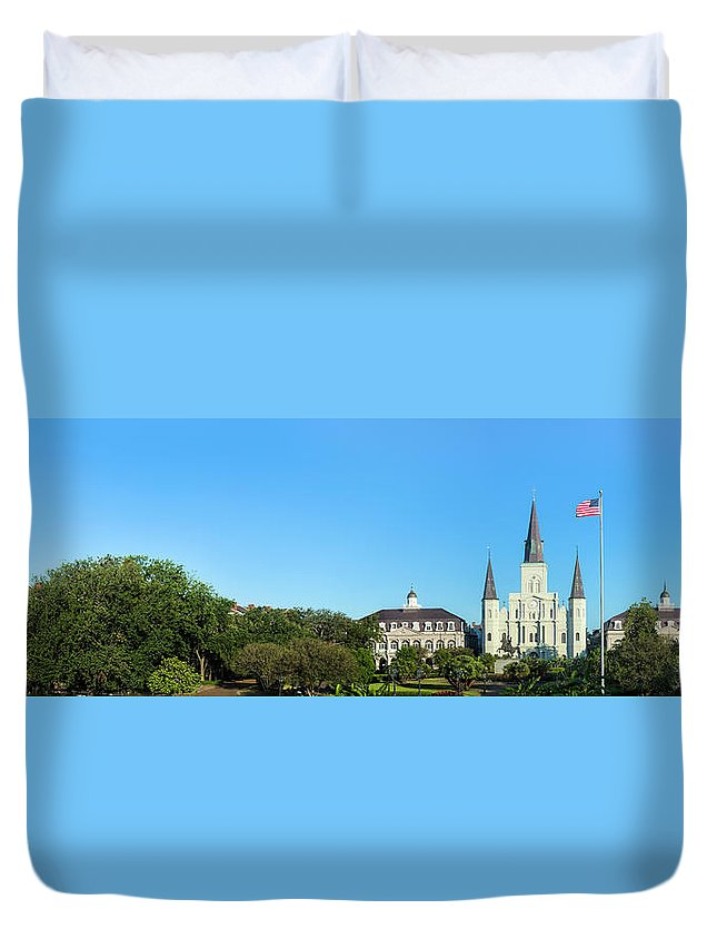 Panoramic Duvet Cover featuring the photograph Saint Louis Cathedral Panorama by Drnadig