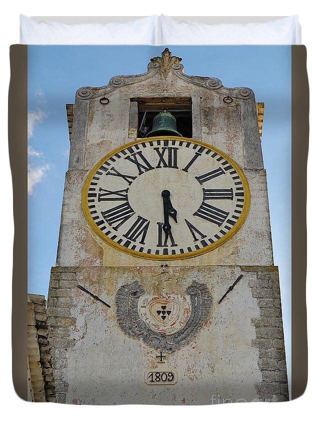 Igreja De Santa Maria Do Castelo Duvet Cover featuring the photograph Saint Mary Church Clock Tower In Tavira. Portugal by Angelo DeVal