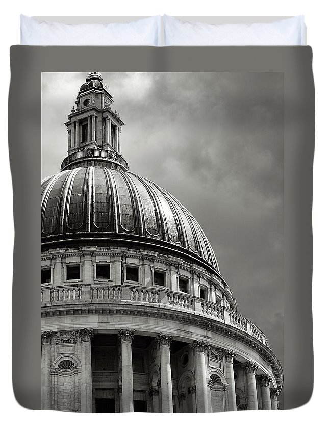 English Culture Duvet Cover featuring the photograph Saint Pauls Cathedral Dramatic Sky by Peskymonkey