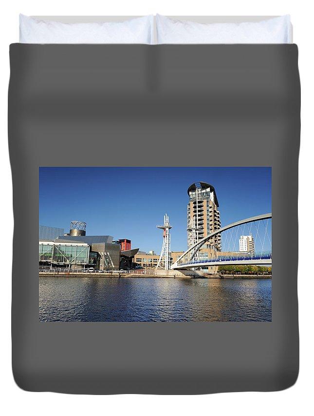 London Millennium Footbridge Duvet Cover featuring the photograph Salford Quays, Manchester by Chrishepburn