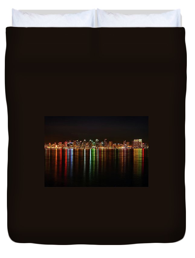 California Duvet Cover featuring the photograph San Diego Skyline From Harbor Island by David Toussaint