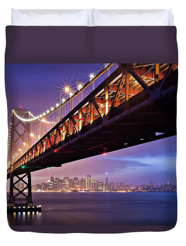 Tranquility Duvet Cover featuring the photograph San Francisco Bay Bridge by Photo By Mike Shaw