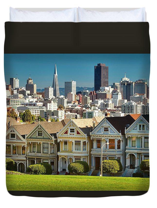San Francisco Duvet Cover featuring the photograph San Francisco Postcard Row Skyline by Pgiam